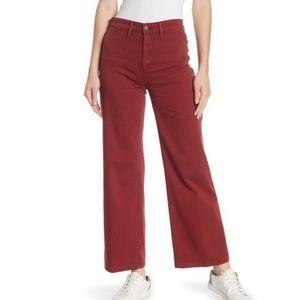 NWT VINCE Wide Leg Denim Pants Burgundy 26